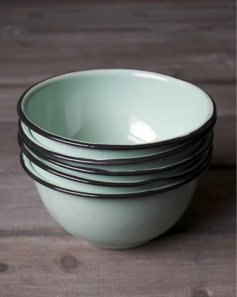 Seafoam Enamel Cereal Bowl Farmhouse Pottery