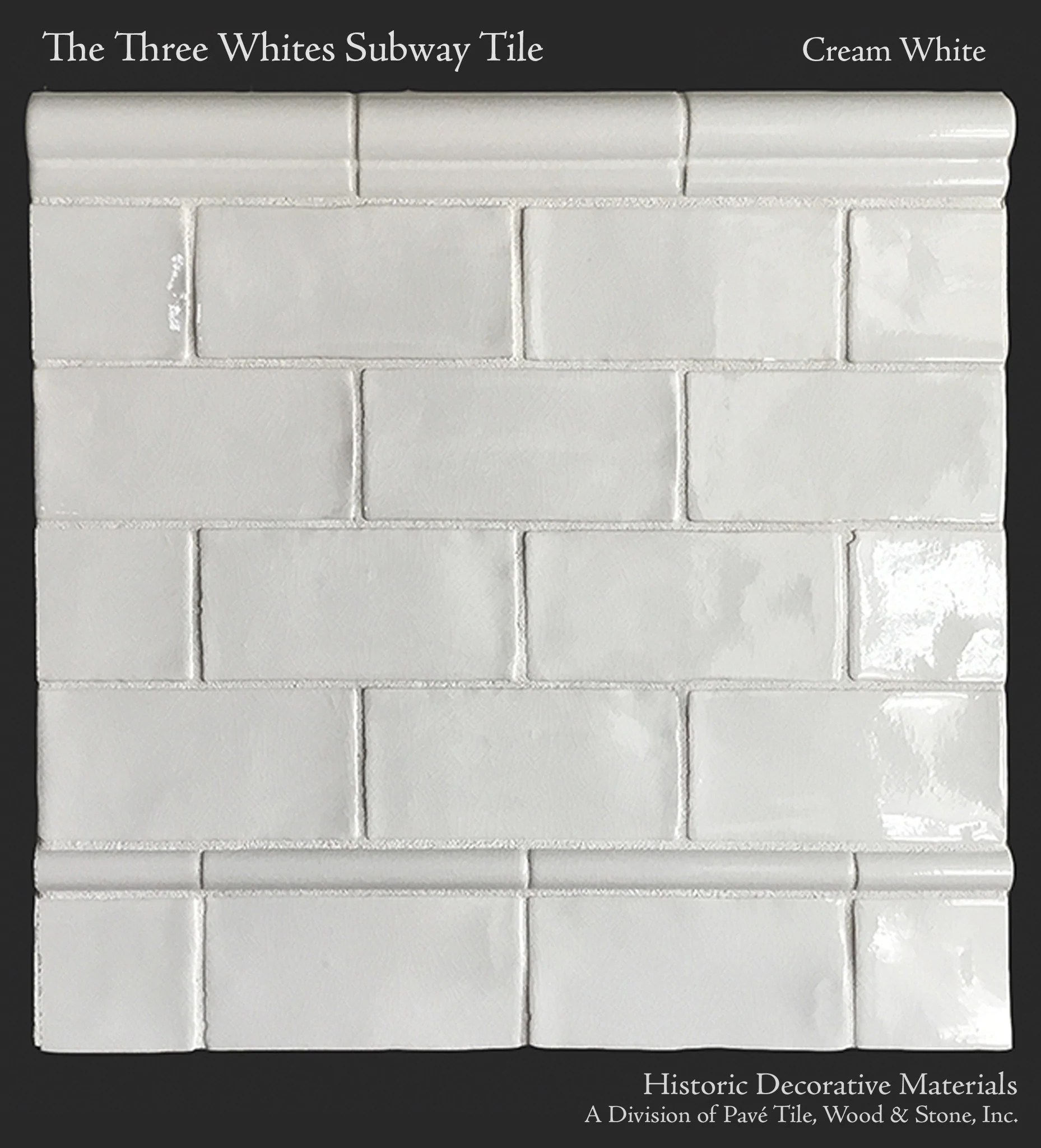 hdm s historic whites glazed 3 x 6 subway tile molding collection the chair rail molding
