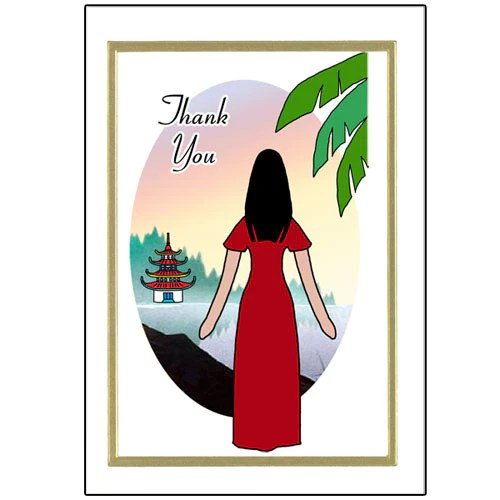 Asian And Chinese Thank You Note Cards Mandys Moon