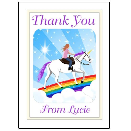 Personalized Unicorn Dreams Thank You Note Cards For Girls