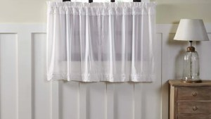"""White Ruffled Sheer Tier Curtains 36"""" Primitive Star"""