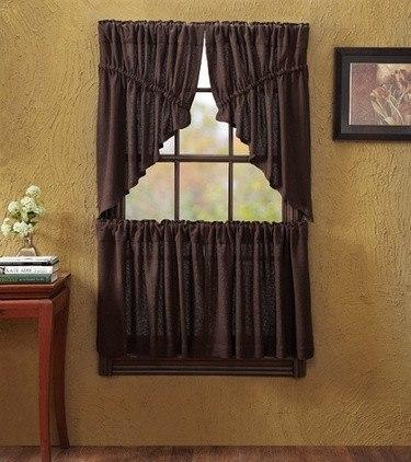 Burlap Chocolate Prairie Swag Curtains Primitive Star Quilt Shop