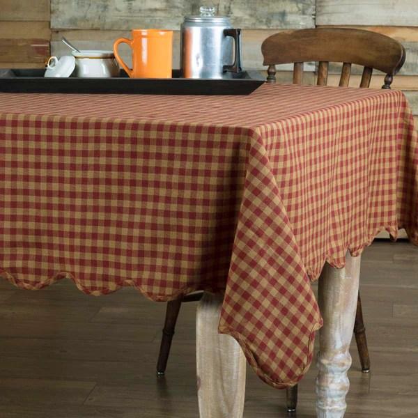 Burgundy Check Rectangle Tablecloth Retro Barn Country Linens