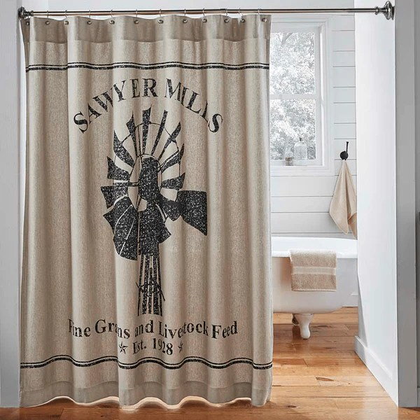 Sawyer Mill Shower Curtain Windmill Retro Barn Country Linens