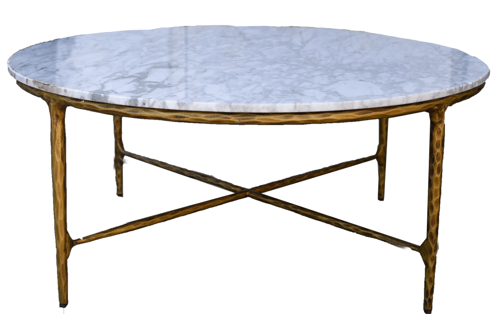 gold and marble round coffee table