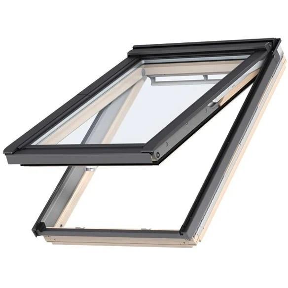 velux gpl fk06 3060 noise reduction pine top hung window 66 x 118 cm