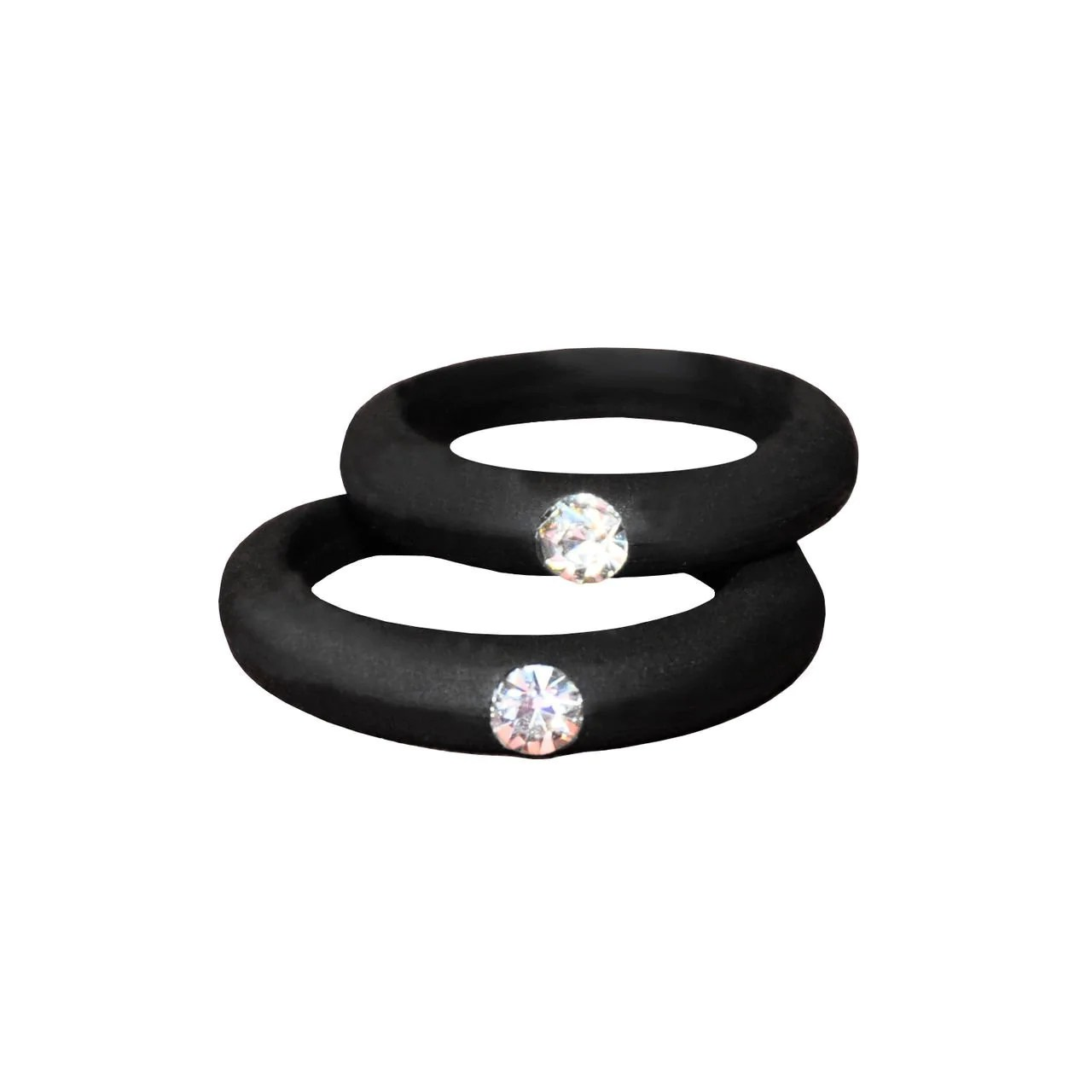 Rhinestone Silicone Rings 2 Pack Includes Both Sizes