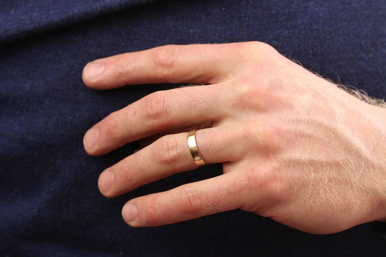 Mens 5mm Hammmered Flat Edge Wedding Band 22k HoardJewelry