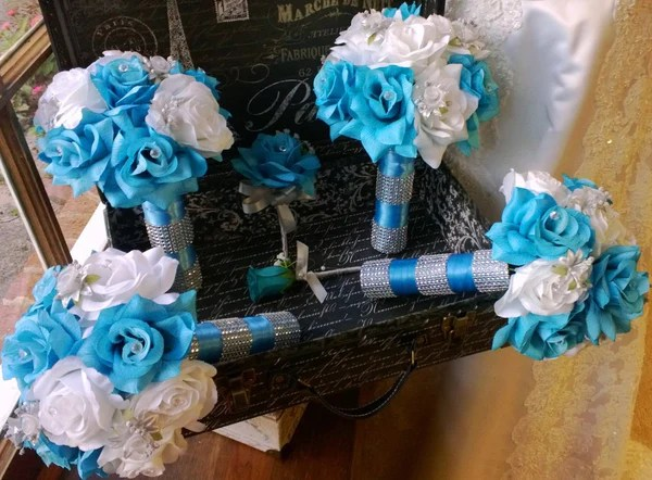 17 Piece Silk Malibu Blue White Rose With Silver Accents