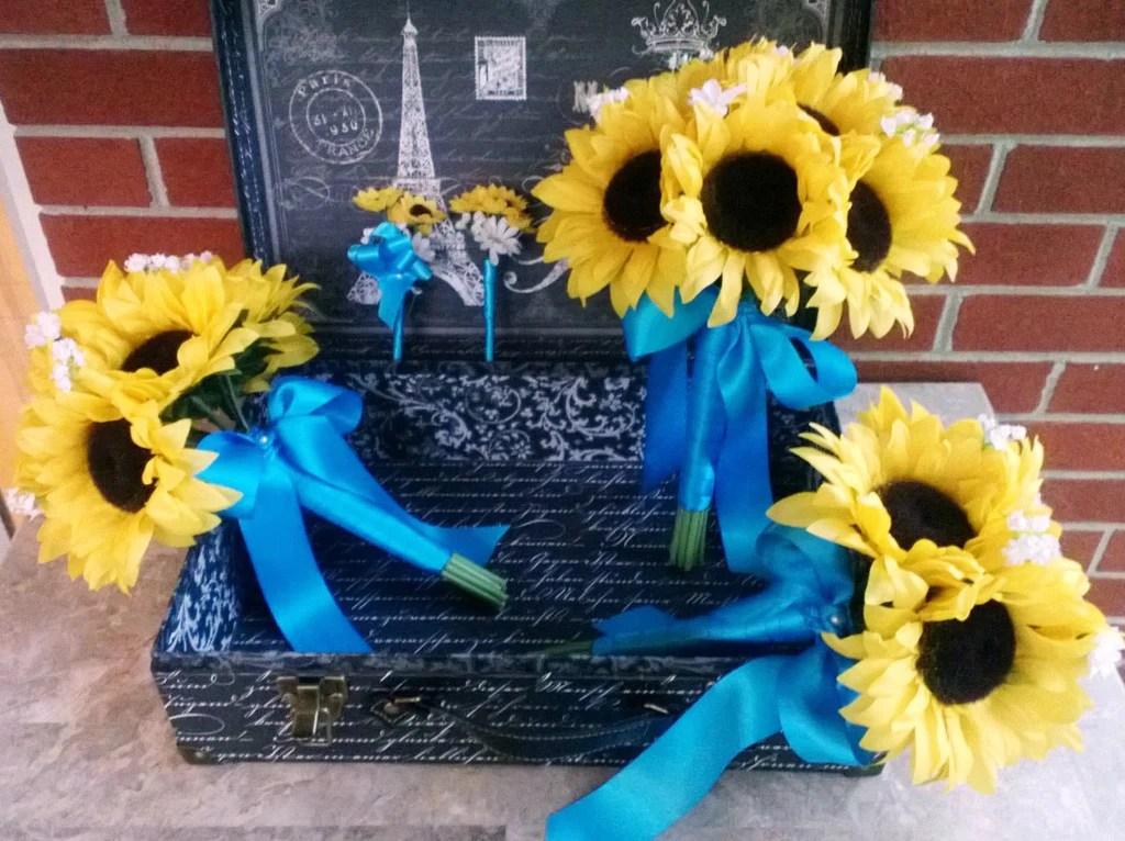 10 Piece Silk Sunflower Wedding Bouquet Set With Matching