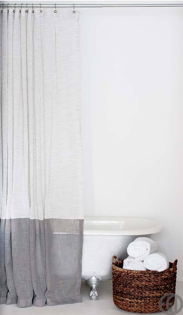 Long White And Grey Shower Curtain With Large Grey Bottom Banding EMILY ELLINGWOOD DESIGNS