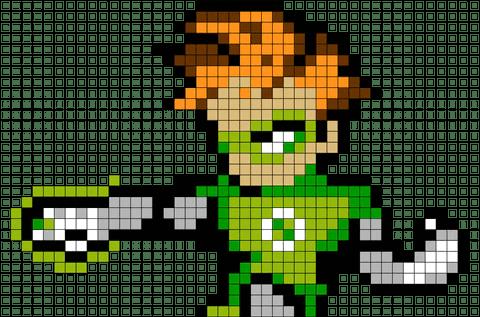 Green Lantern Pixel Art BRIK