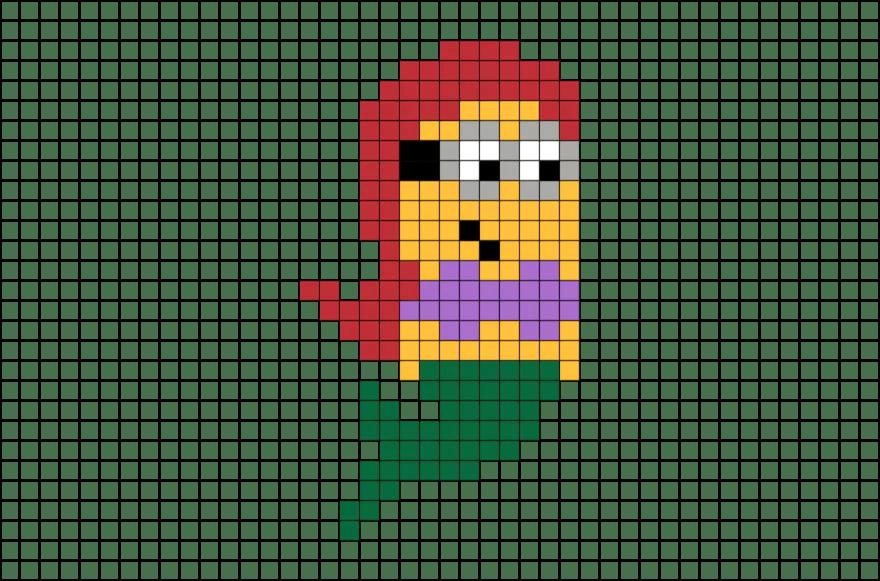 The Little Mermaid Minion Pixel Art BRIK