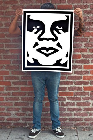 obey 3 face white signed lithograph set