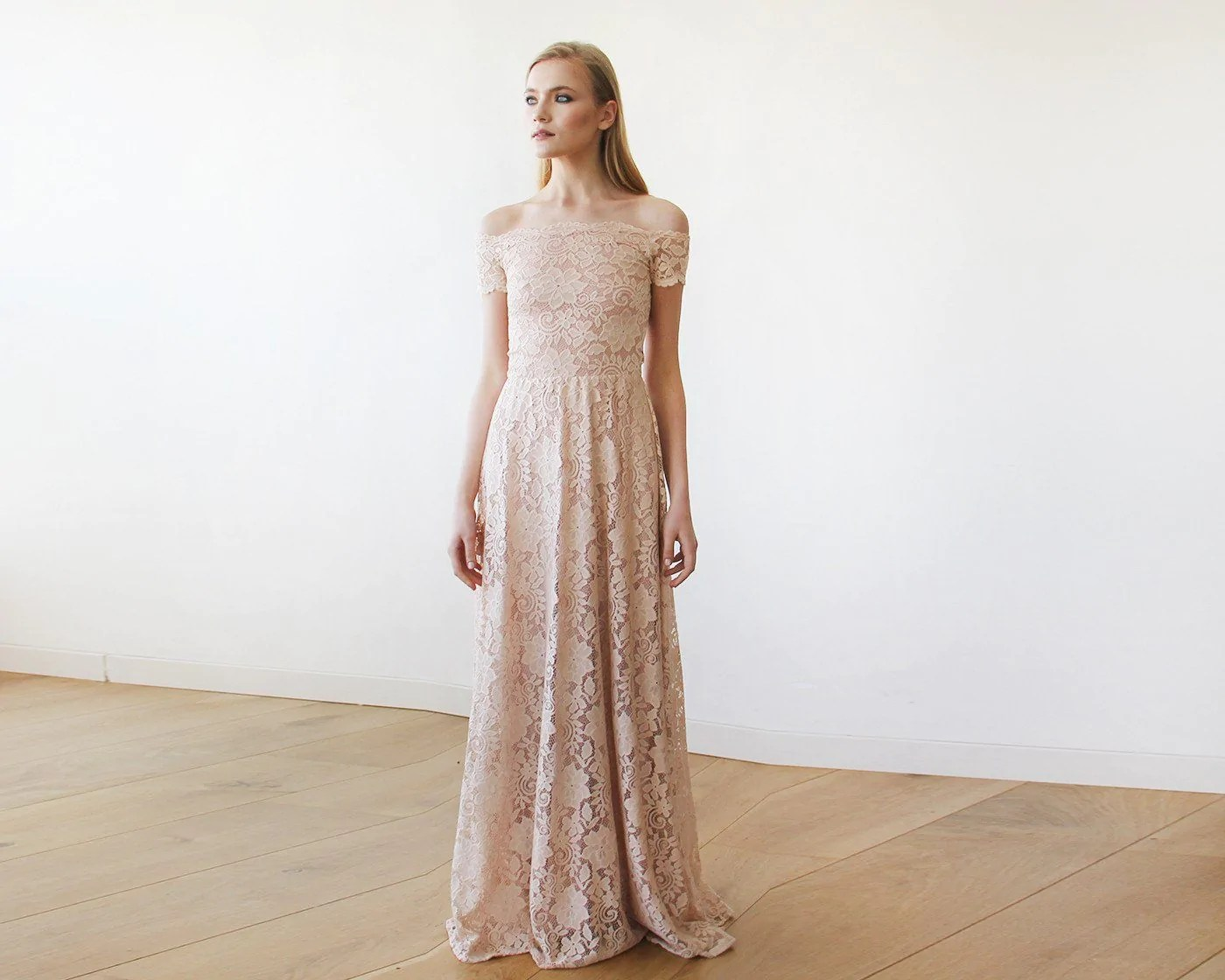Romantic Blush Pink Floral Lace Maxi Dress. Short Off-the