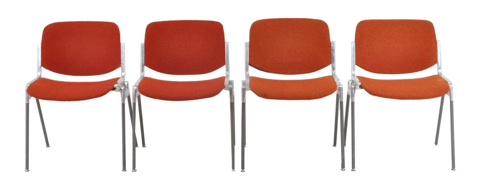Set Of 4 Italian Mid Century Modern Stacking Chairs By Giancarlo Piretti For Castelli 1960s