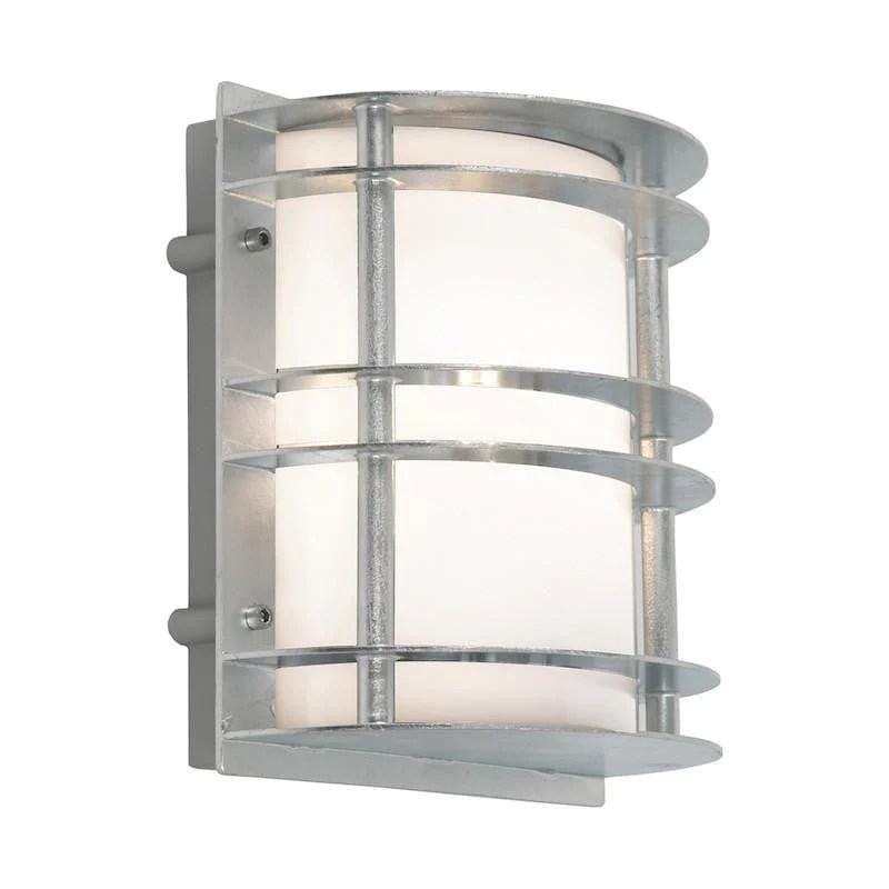elstead stockholm galvanised steel with opal glass outdoor flush wall light