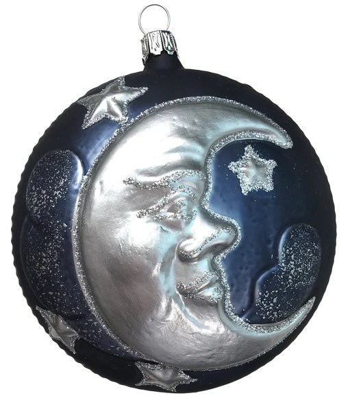 Man In The Moon Glass Ornament Made In Germany Blue