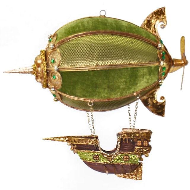 Hot Air Balloon Ship Ornament Green Steampunk Christmas