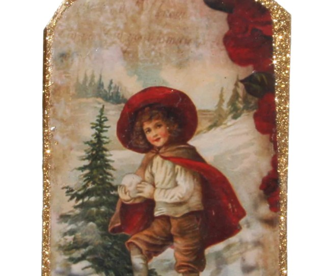 Victorian Christmas Postcard Ornament Child Paying In The Snow