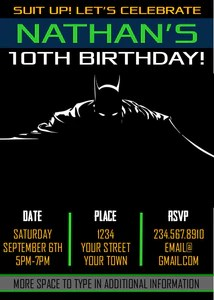 batman superhero party invitation editable