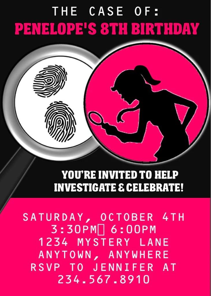 Girl Spy Party Invitation EDITABLE PartyGamesPlus