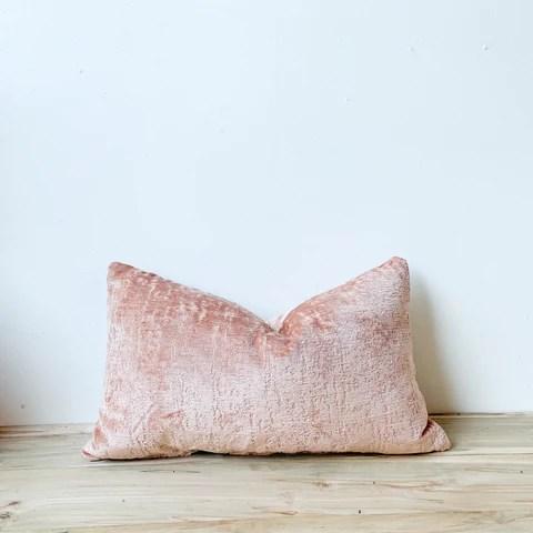 blush chenille lumbar pillow 14x24