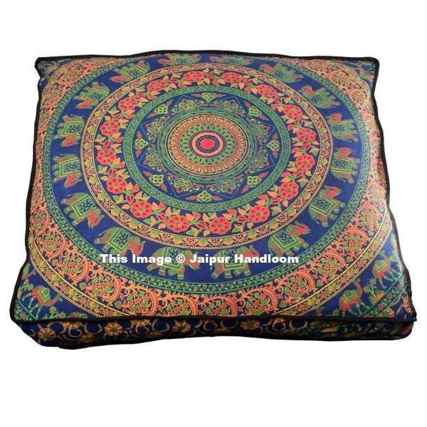 shubhlaxmifashion large 32 green star manadala round pillow cover pom pom pillow cases decorative mandala pillow sham indian bohemian ottoman poufs outdoor cushion cover decorative pillows inserts covers floor pillows
