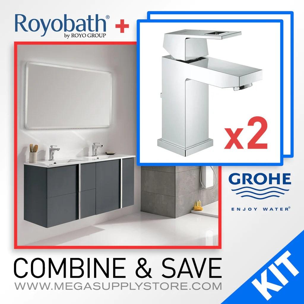 "royo 48"" wall-hung bathroom vanity & 2 grohe 23129000 eurocube"