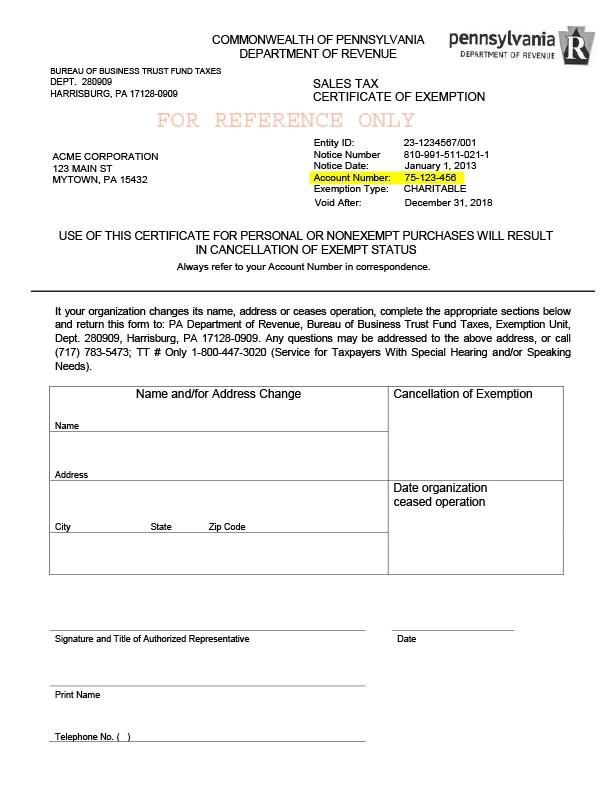 Sample Tax Exemption Certificate Florida