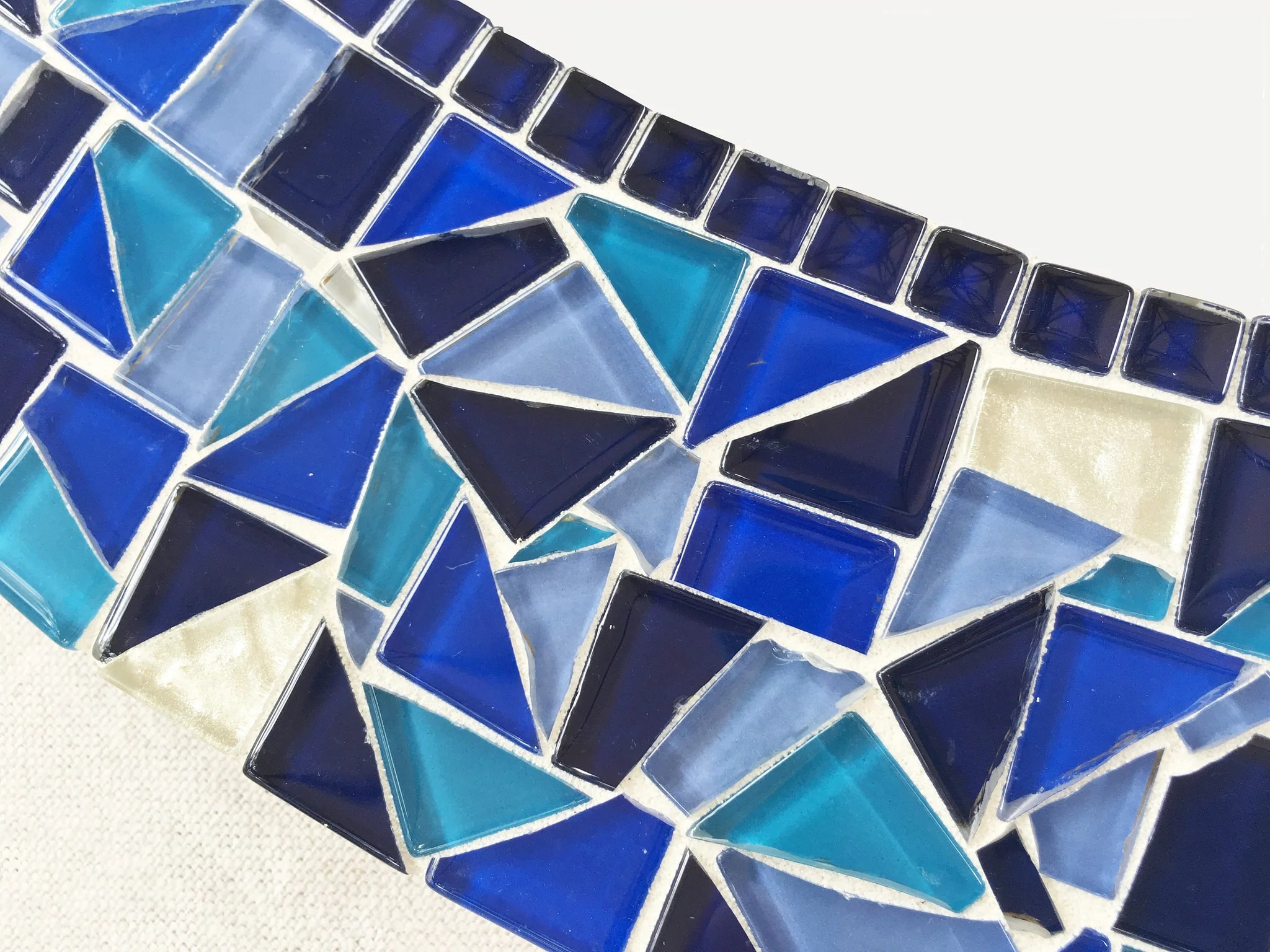 blue and white mosaic mirror
