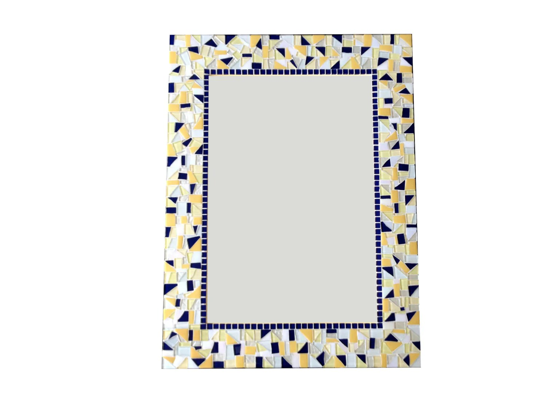 yellow and navy blue mosaic wall mirror