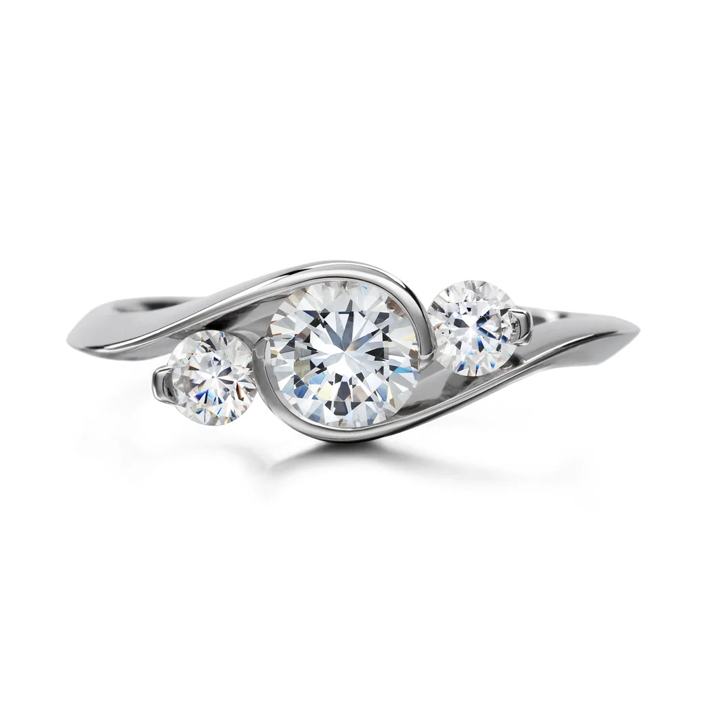 Contour Three Stone Round Engagement Ring Diana Vincent