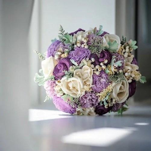 Luxe Collection Bridal Bouquet Purple Sola Flowers