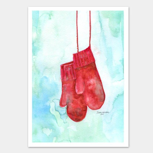 Red Mittens Watercolor Christmas Card Set Susan Windsor
