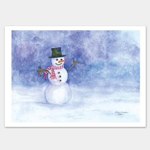 Snowman Watercolor Christmas Cards Set Of 10 Susan Windsor