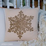 Elegant Holiday Square Pillow With Metallic Bronze Beaded Snowflake Lavish Three