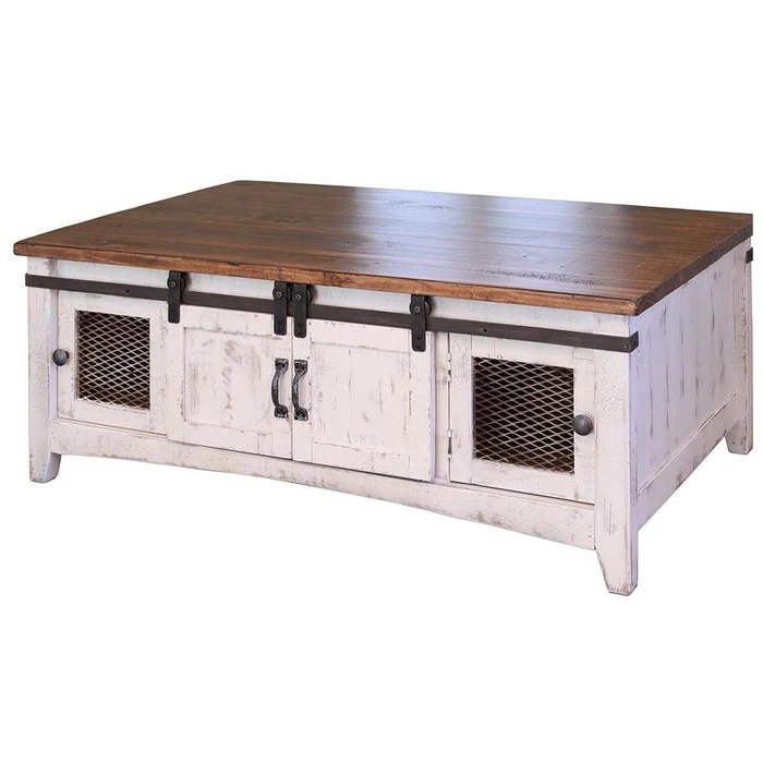 greenview sliding door coffee table distressed white