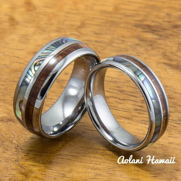 Tungsten Abalone Wedding Band Set With Mother Of Pearl