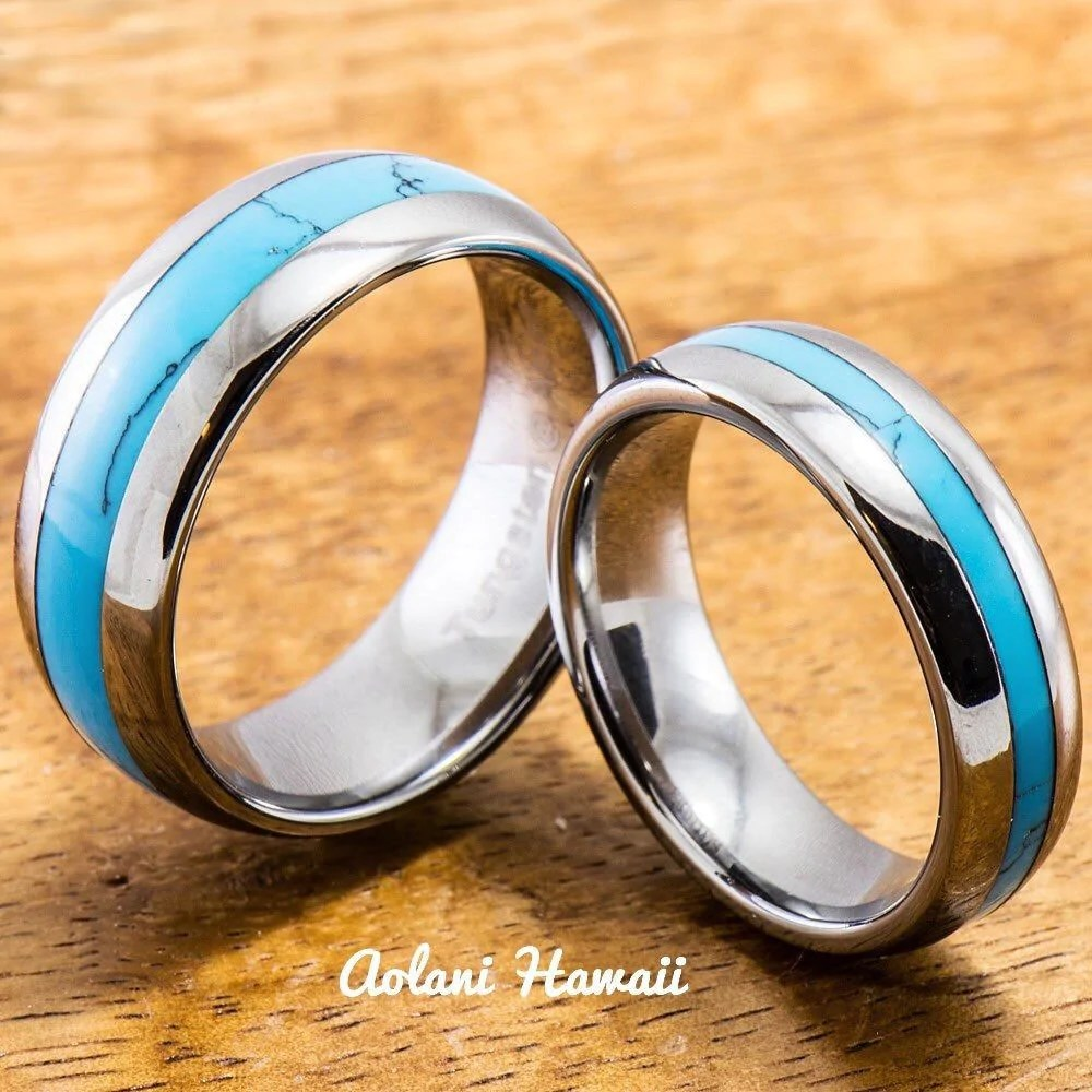 Wedding Band Set Of Tungsten Rings With Turquoise Inlay
