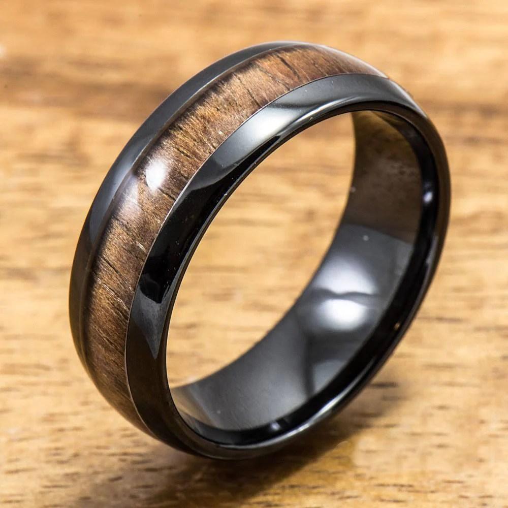 Black Ceramic Ring With Koa Wood Inlay 4mm 8 Mm Width