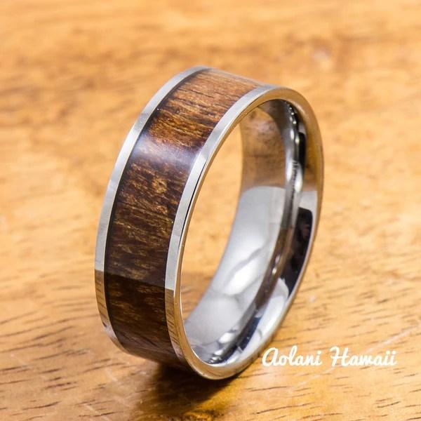 Wedding Band Set Of Tungsten Rings With Hawaiian Koa Wood