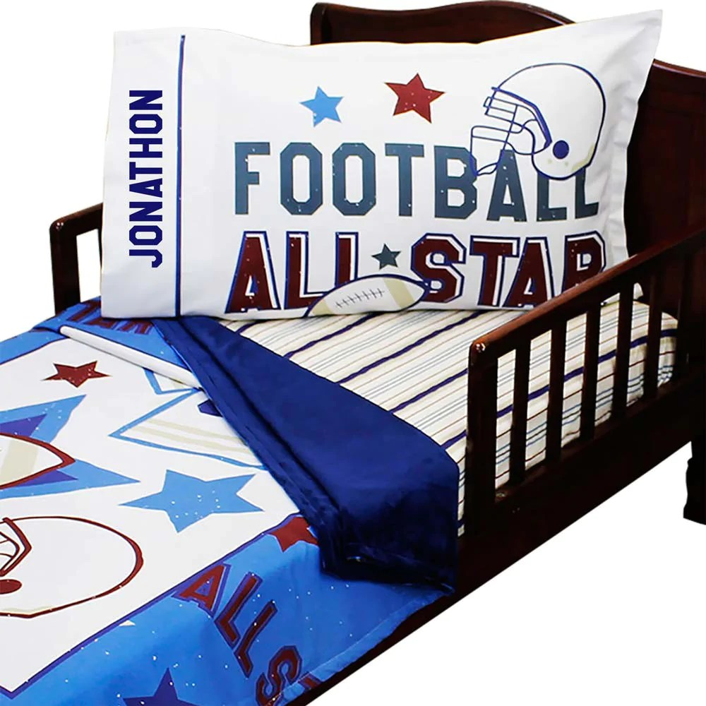 customizable football all star toddler bedding set