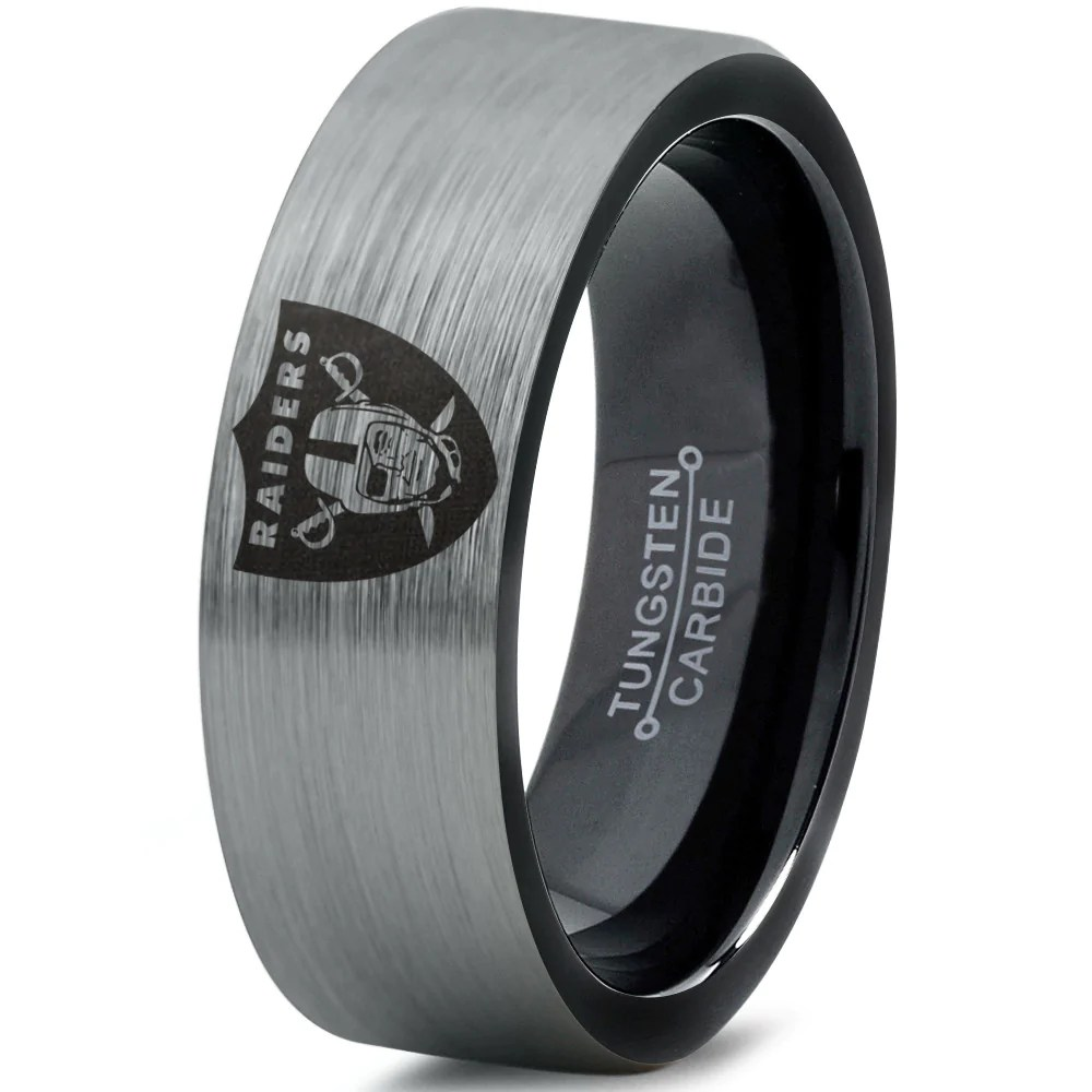 Oakland Raiders Tungsten Wedding Band Ring Mens Womens