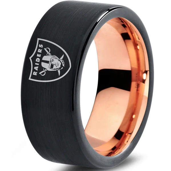 Oakland Raiders Ring Wedding Band Tungsten Football NFL