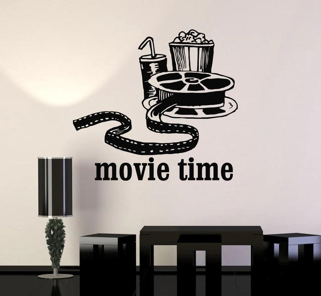 Vinyl Wall Decal Movies Cinema Film Popcorn Room Decor ... on Room Decor Stickers id=41114
