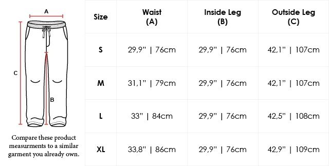 Size Chart Regular Fit Cotton Drawstring Sweatpants