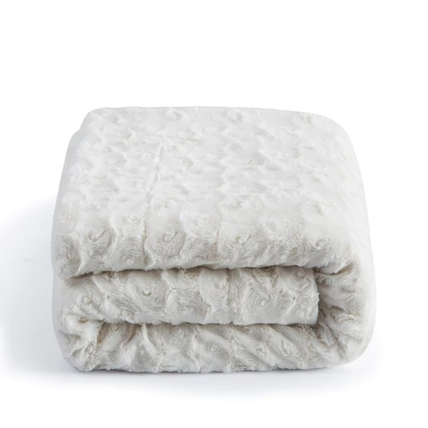 DaDa Super Soft Warm Luxury White Roses White Faux Fur With Sherpa Throw Blanket From Tache 50