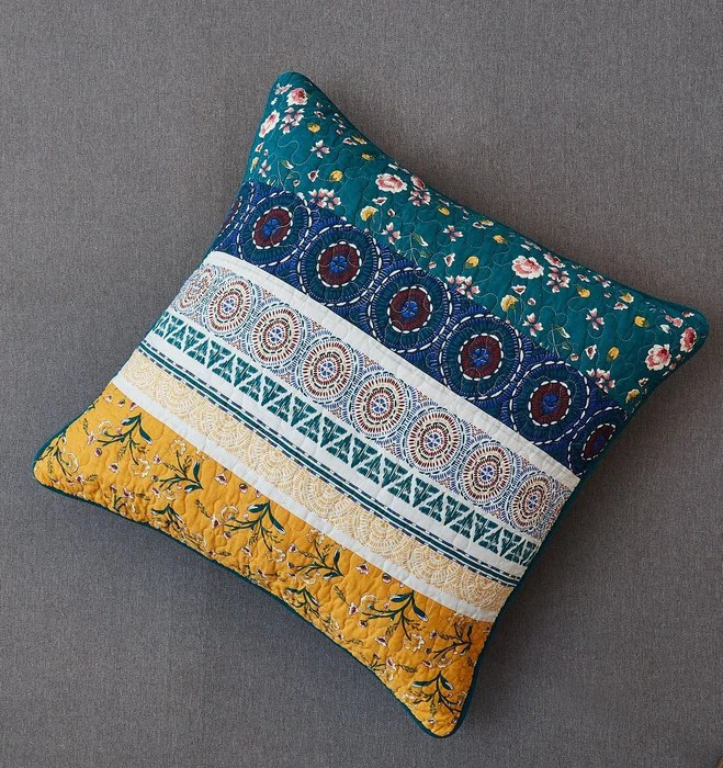 dada bedding bohemian patchwork bed of wild flowers floral gardenia euro pillow sham cover 26 x 26 jhw886