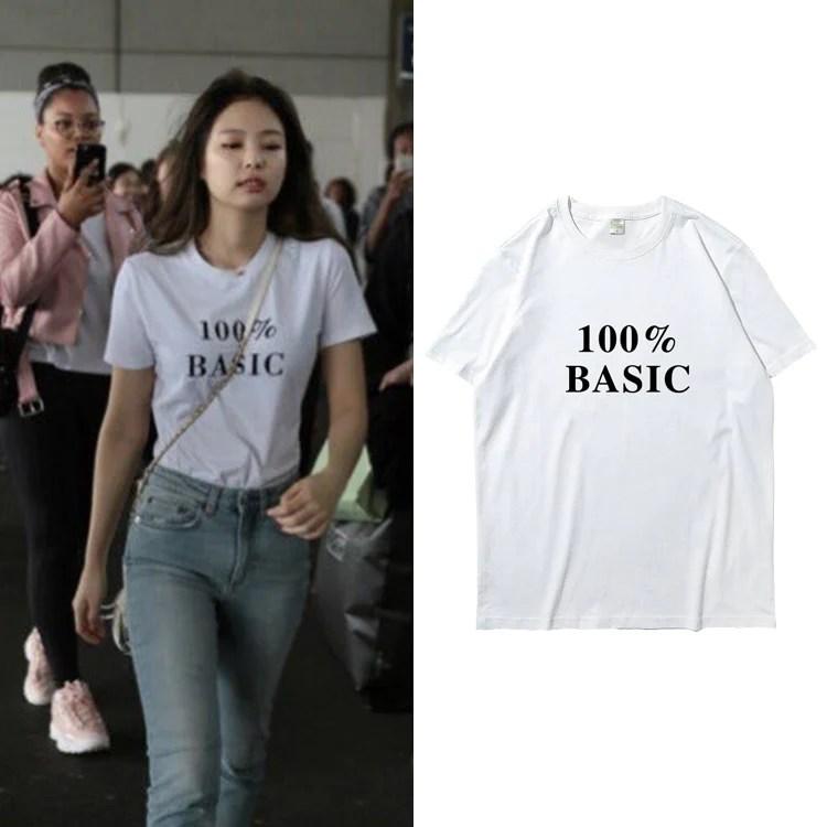 Blackpink Jennie 100 Basic T Shirt Idols Fashion